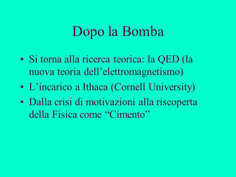 Dopo la Bomba Si torna alla ricerca teorica: la QED (la nuova teoria dell'elettromagnetismo) L'incarico a Ithaca (Cornell University)