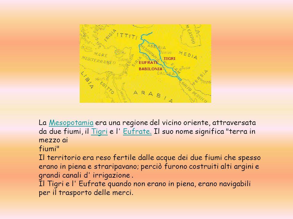 La Mesopotamia era una regione del vicino oriente, attraversata da due fiumi, il Tigri e l Eufrate. Il suo nome significa terra in mezzo ai fiumi Il territorio era reso fertile dalle acque dei due fiumi che spesso erano in piena e straripavano; perciò furono costruiti alti argini e grandi canali d irrigazione .