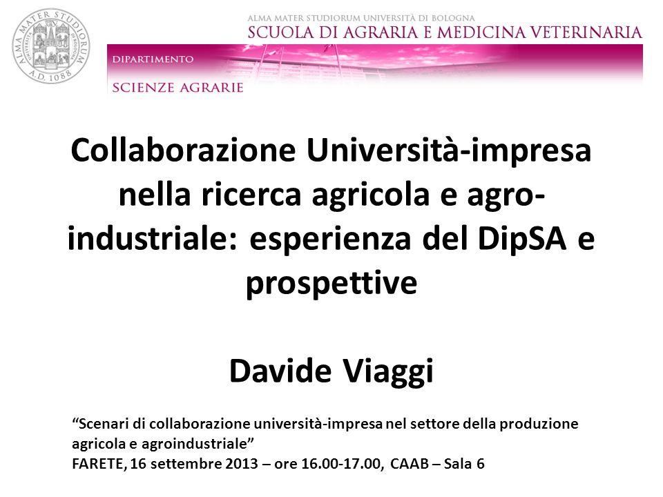 Collaborazione Università-impresa nella ricerca agricola e agro-industriale: esperienza del DipSA e prospettive Davide Viaggi
