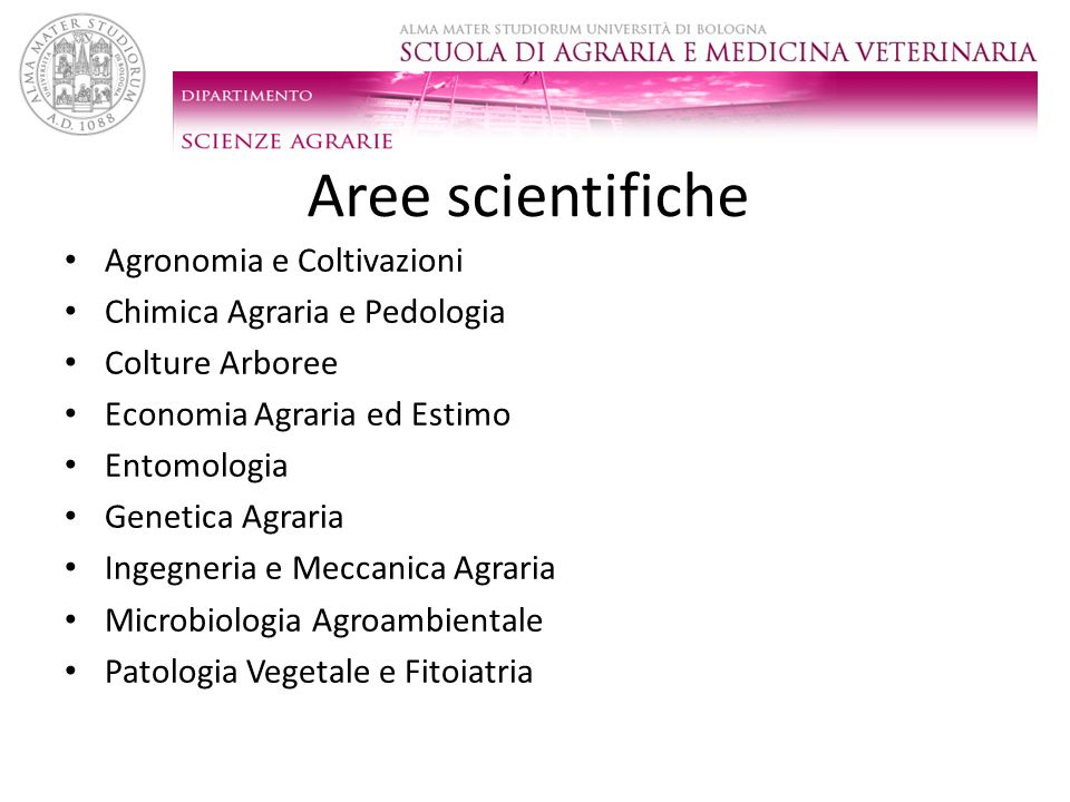 Aree scientifiche Agronomia e Coltivazioni Chimica Agraria e Pedologia