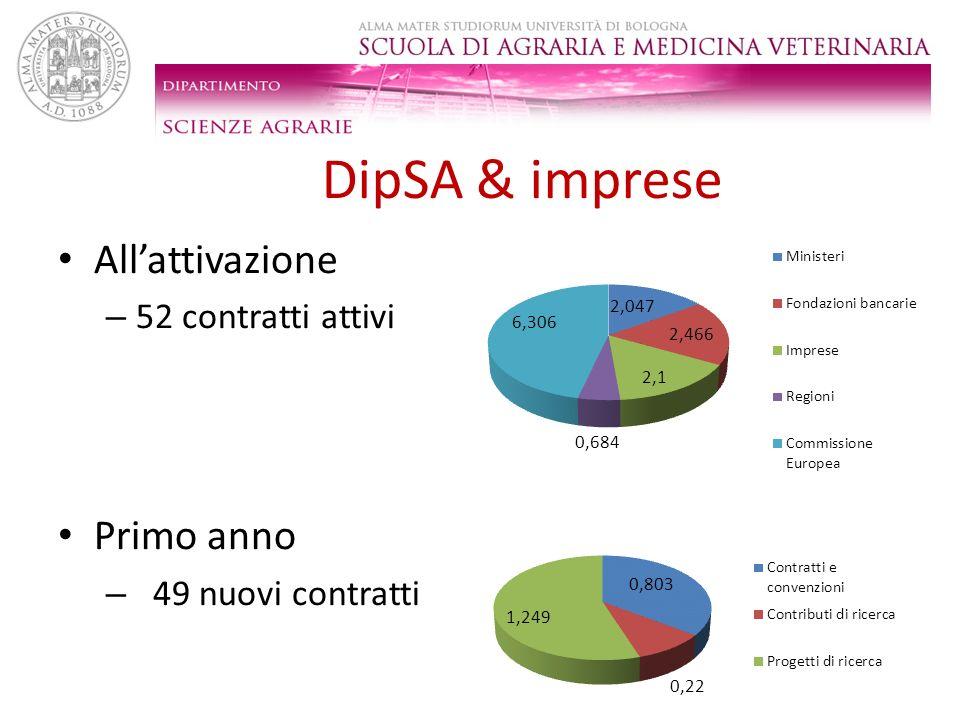 DipSA & imprese All'attivazione Primo anno 52 contratti attivi