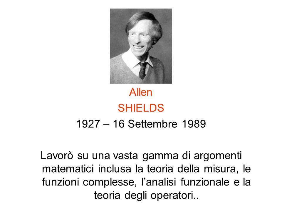 Allen SHIELDS. 1927 – 16 Settembre 1989.