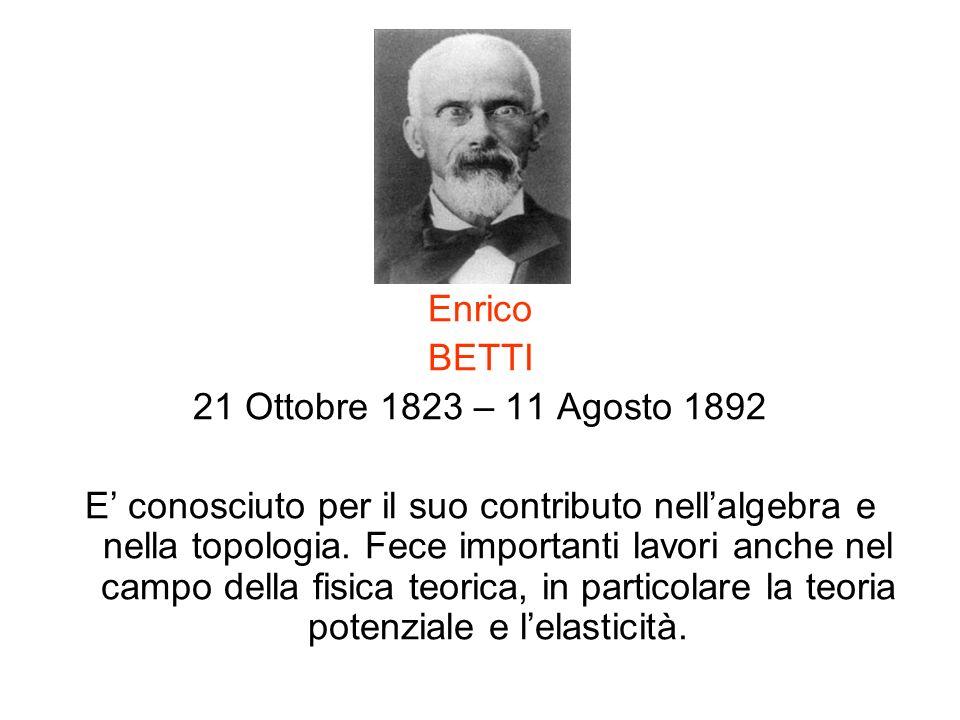 Enrico BETTI. 21 Ottobre 1823 – 11 Agosto 1892.