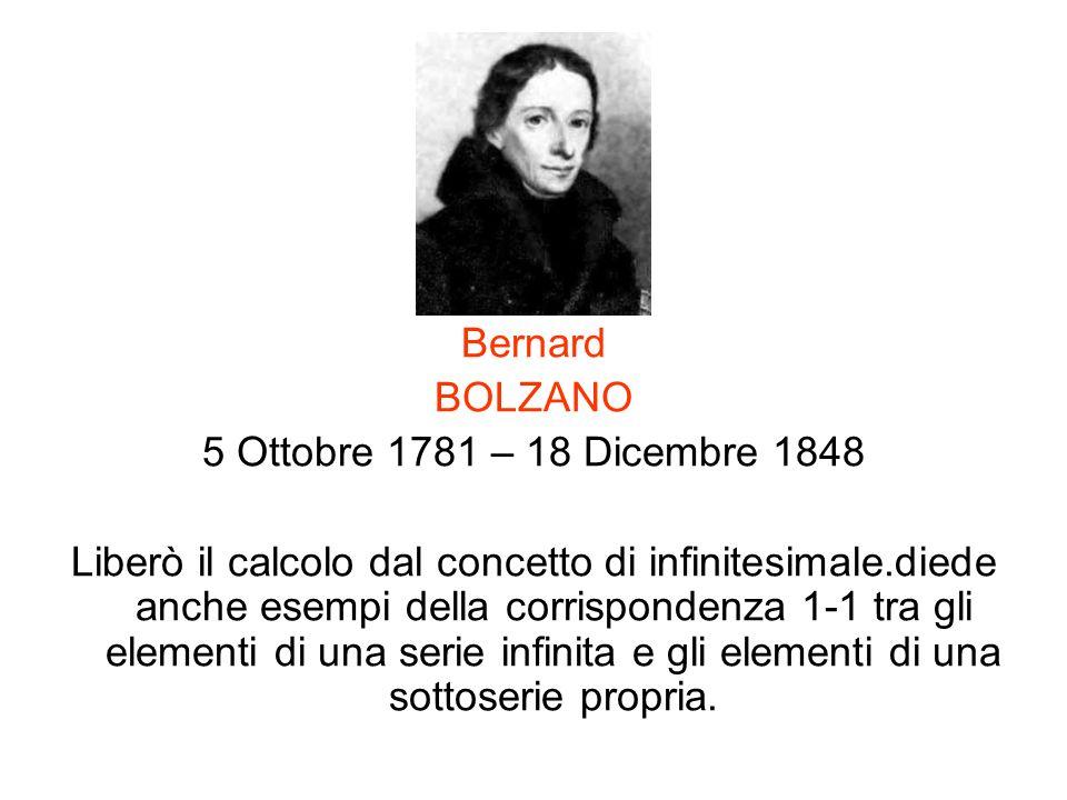 Bernard BOLZANO. 5 Ottobre 1781 – 18 Dicembre 1848.