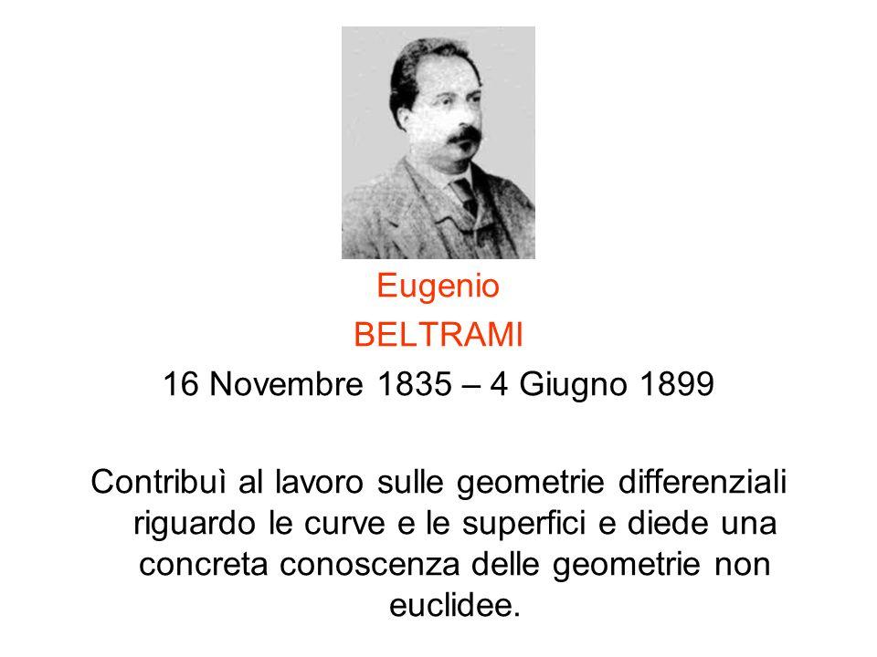Eugenio BELTRAMI. 16 Novembre 1835 – 4 Giugno 1899.