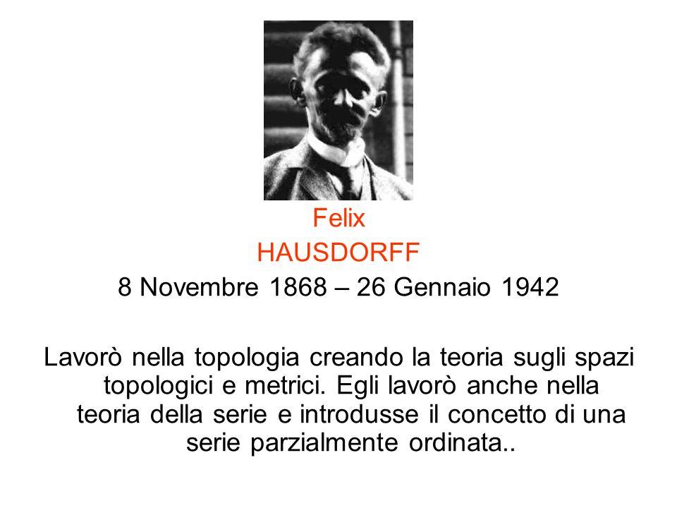 Felix HAUSDORFF. 8 Novembre 1868 – 26 Gennaio 1942.