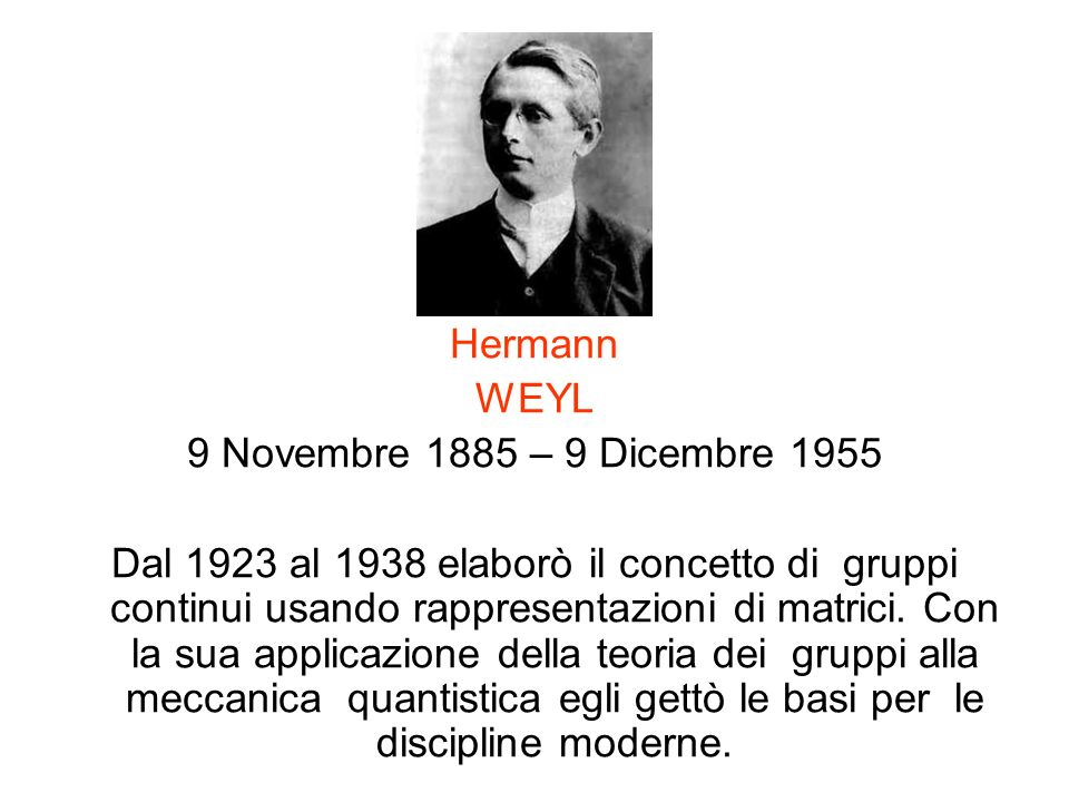 Hermann WEYL. 9 Novembre 1885 – 9 Dicembre 1955.