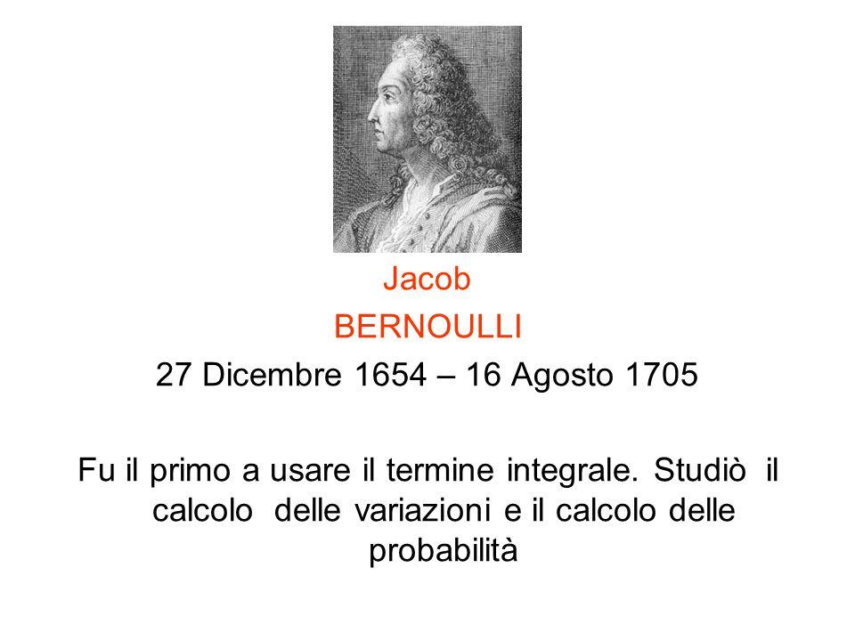 Jacob BERNOULLI. 27 Dicembre 1654 – 16 Agosto 1705.