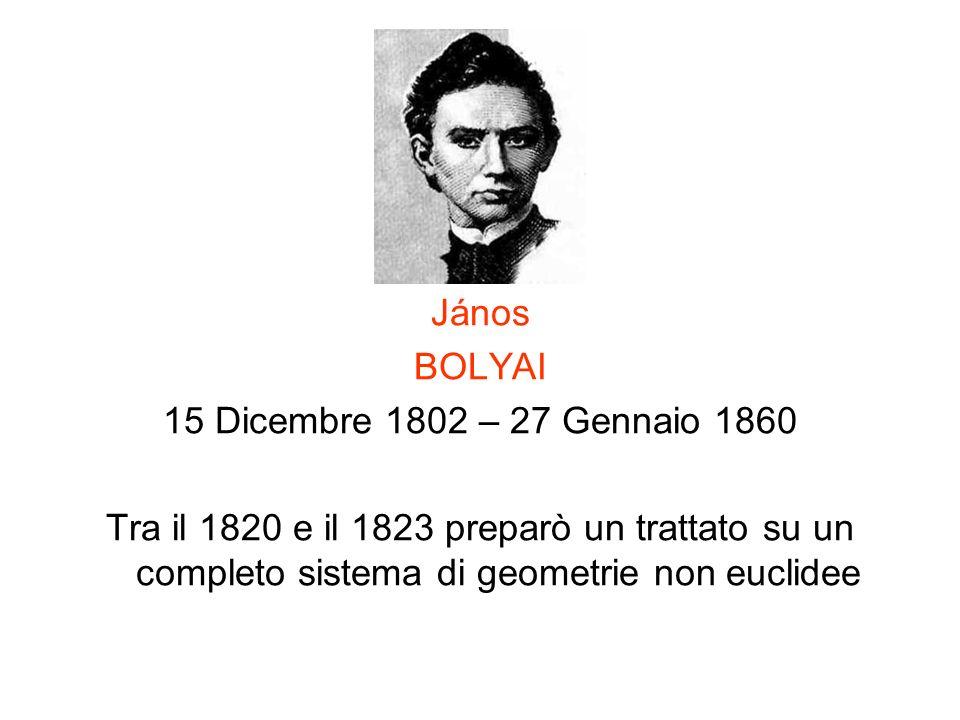 János BOLYAI. 15 Dicembre 1802 – 27 Gennaio 1860.