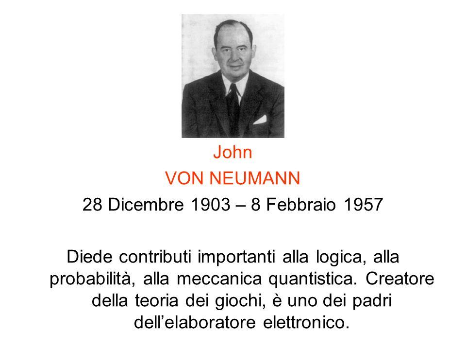 John VON NEUMANN. 28 Dicembre 1903 – 8 Febbraio 1957.