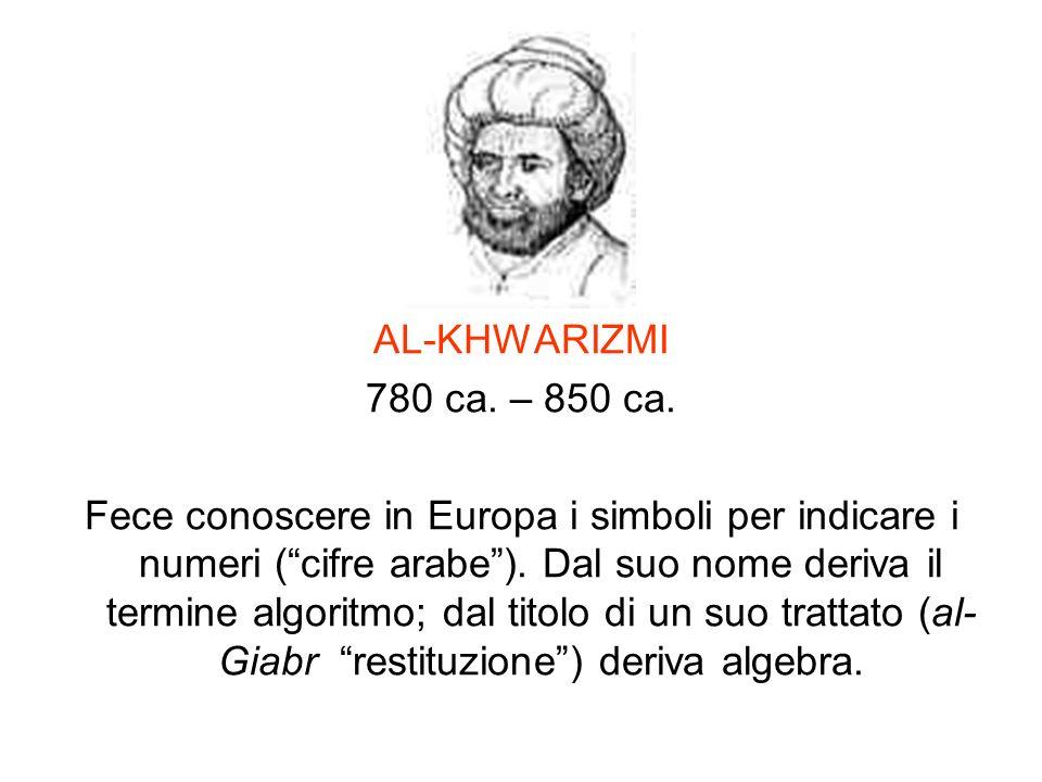 AL-KHWARIZMI 780 ca. – 850 ca.