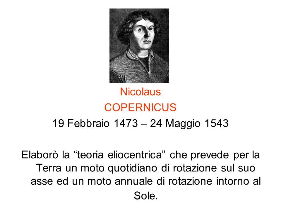 Nicolaus COPERNICUS. 19 Febbraio 1473 – 24 Maggio 1543.