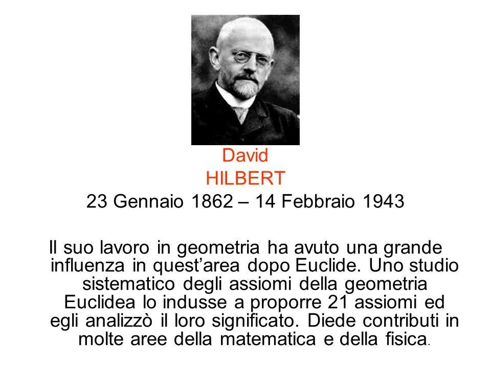 David HILBERT. 23 Gennaio 1862 – 14 Febbraio 1943.
