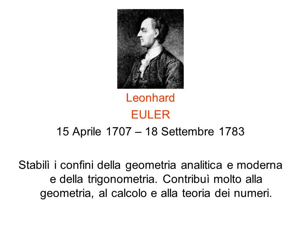 Leonhard EULER. 15 Aprile 1707 – 18 Settembre 1783.