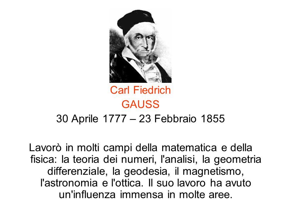 Carl Fiedrich GAUSS. 30 Aprile 1777 – 23 Febbraio 1855.