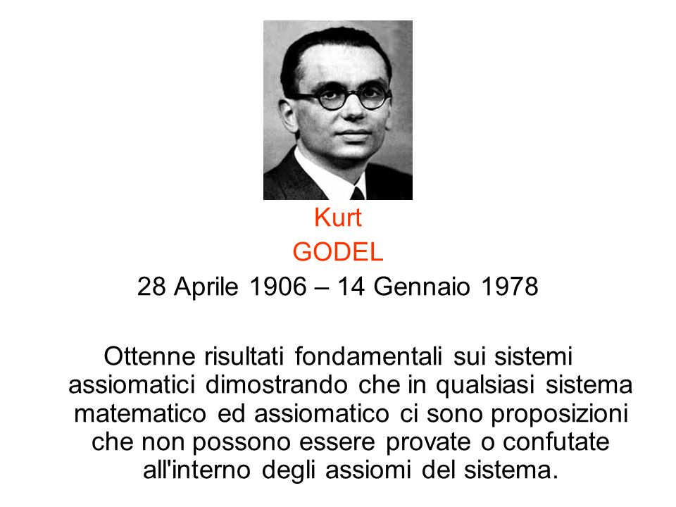 Kurt GODEL. 28 Aprile 1906 – 14 Gennaio 1978.
