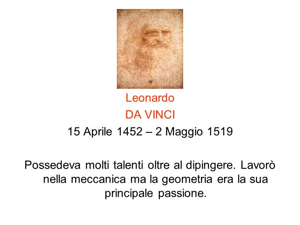 Leonardo DA VINCI. 15 Aprile 1452 – 2 Maggio 1519.