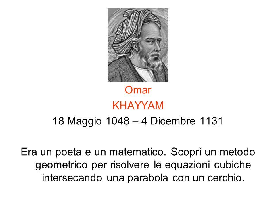 Omar KHAYYAM. 18 Maggio 1048 – 4 Dicembre 1131.