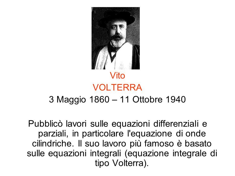 Vito VOLTERRA. 3 Maggio 1860 – 11 Ottobre 1940.