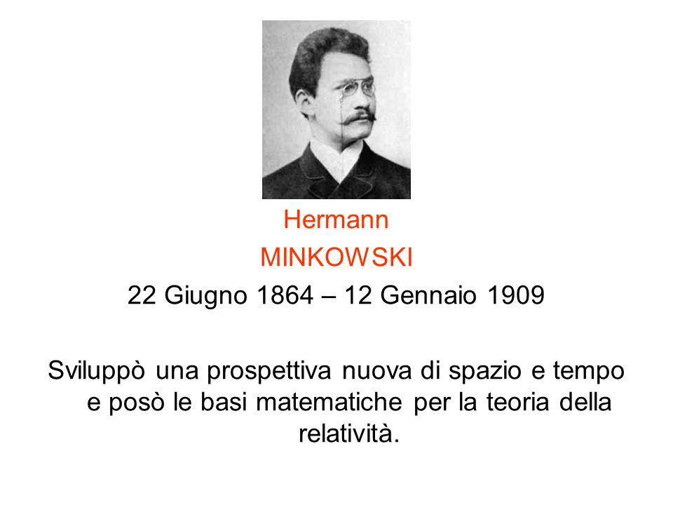 Hermann MINKOWSKI. 22 Giugno 1864 – 12 Gennaio 1909.