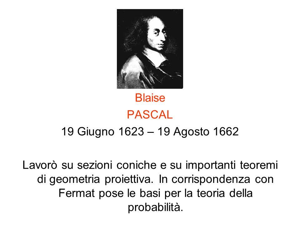 Blaise PASCAL. 19 Giugno 1623 – 19 Agosto 1662.