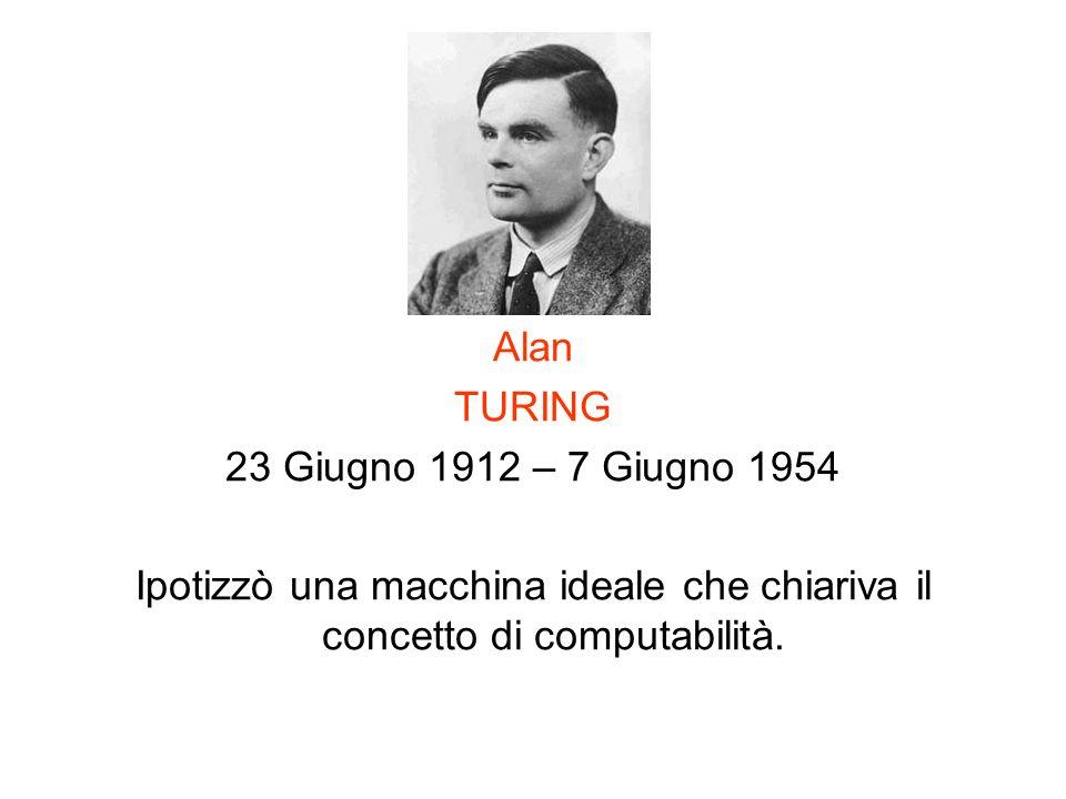 Alan TURING. 23 Giugno 1912 – 7 Giugno 1954.