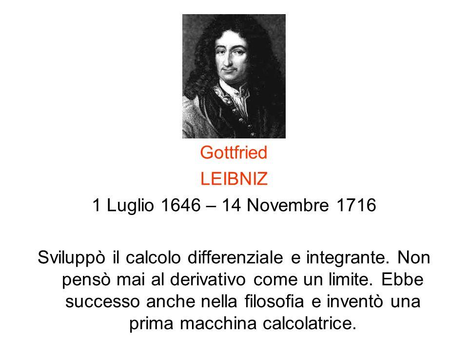 Gottfried LEIBNIZ. 1 Luglio 1646 – 14 Novembre 1716.