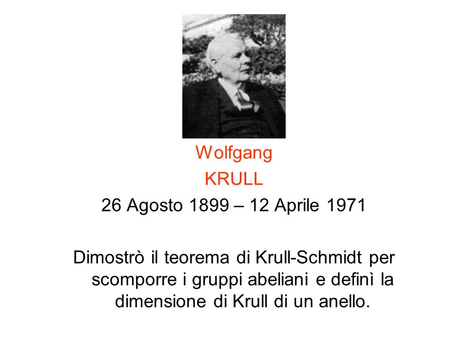 Wolfgang KRULL. 26 Agosto 1899 – 12 Aprile 1971.