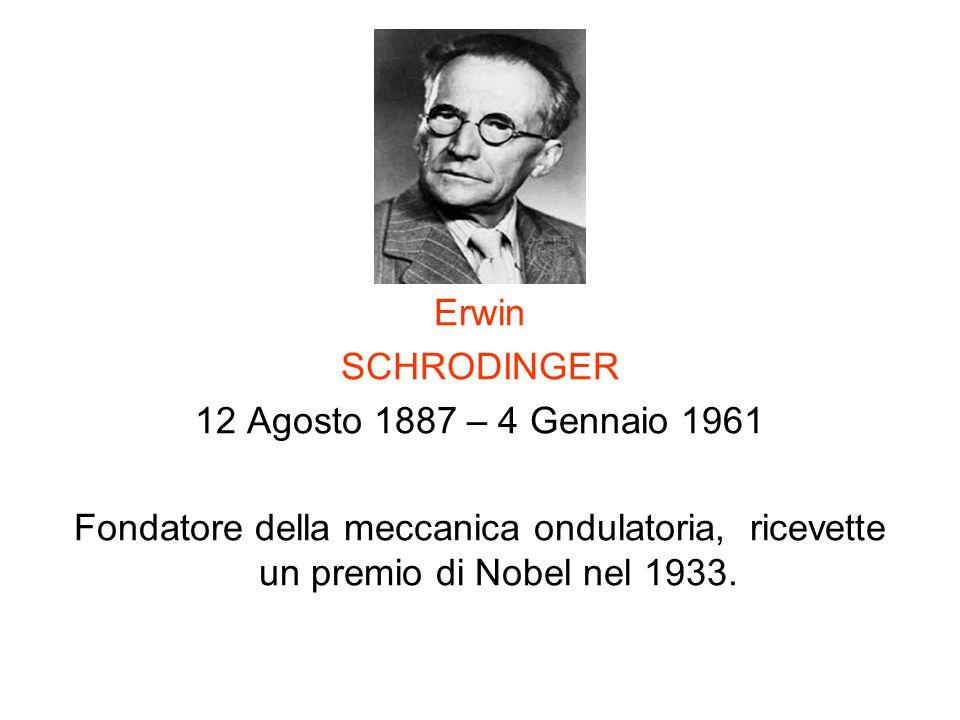 Erwin SCHRODINGER. 12 Agosto 1887 – 4 Gennaio 1961.
