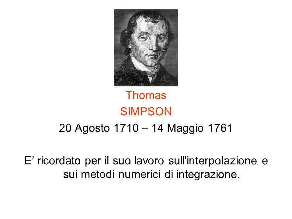 Thomas SIMPSON. 20 Agosto 1710 – 14 Maggio 1761.