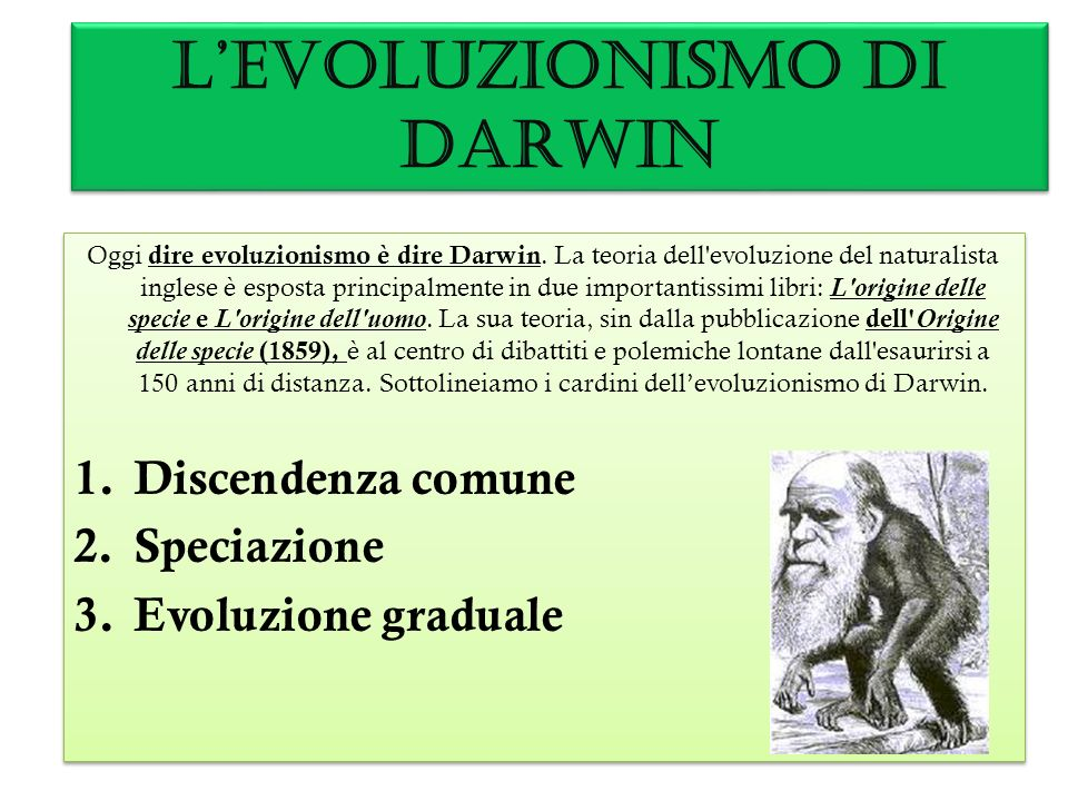 L'EVOLUZIONISMO DI DARWIN
