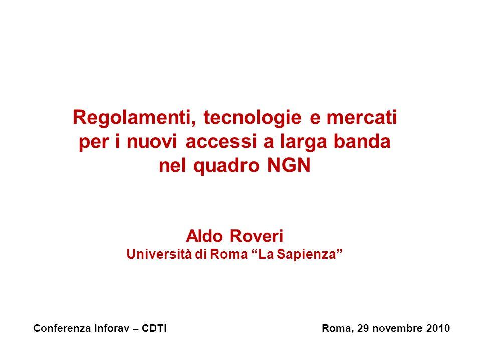Regolamenti, tecnologie e mercati per i nuovi accessi a larga banda nel quadro NGN Aldo Roveri Università di Roma La Sapienza