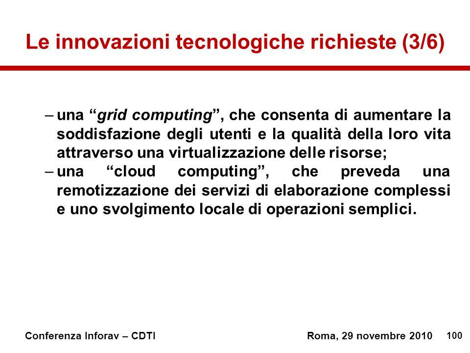 Le innovazioni tecnologiche richieste (3/6)