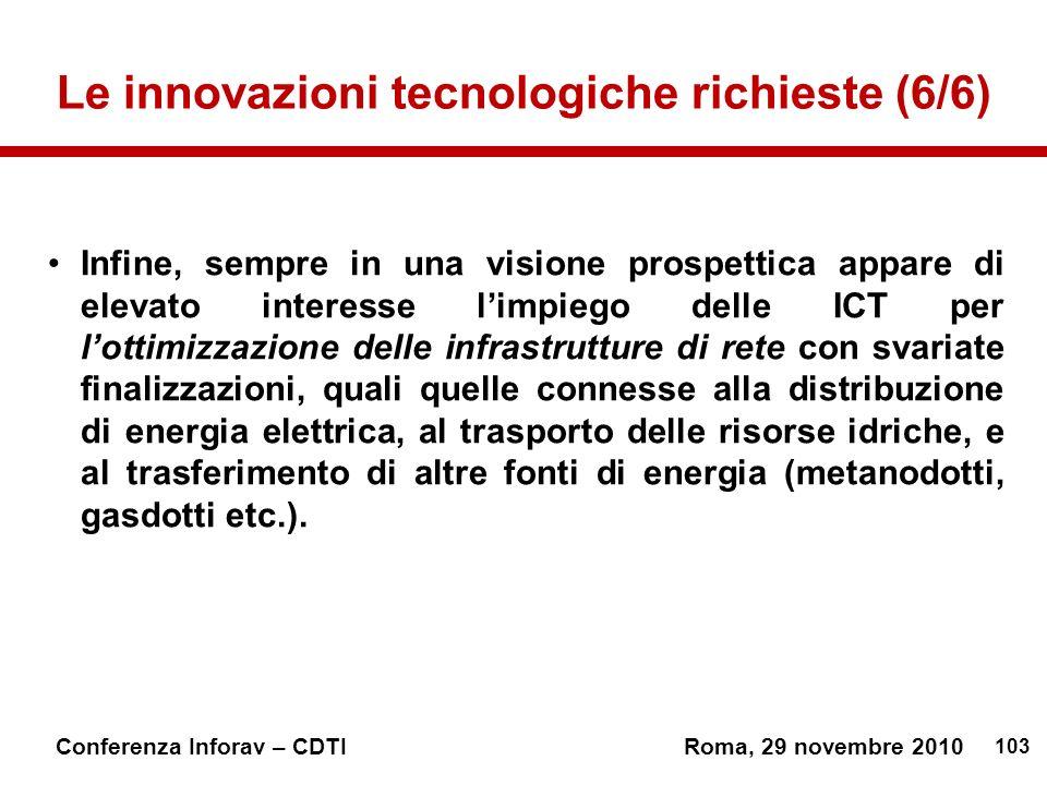 Le innovazioni tecnologiche richieste (6/6)