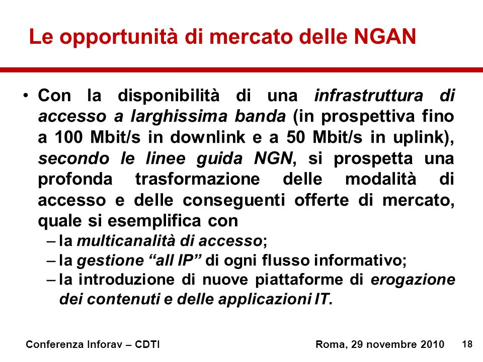 Le opportunità di mercato delle NGAN