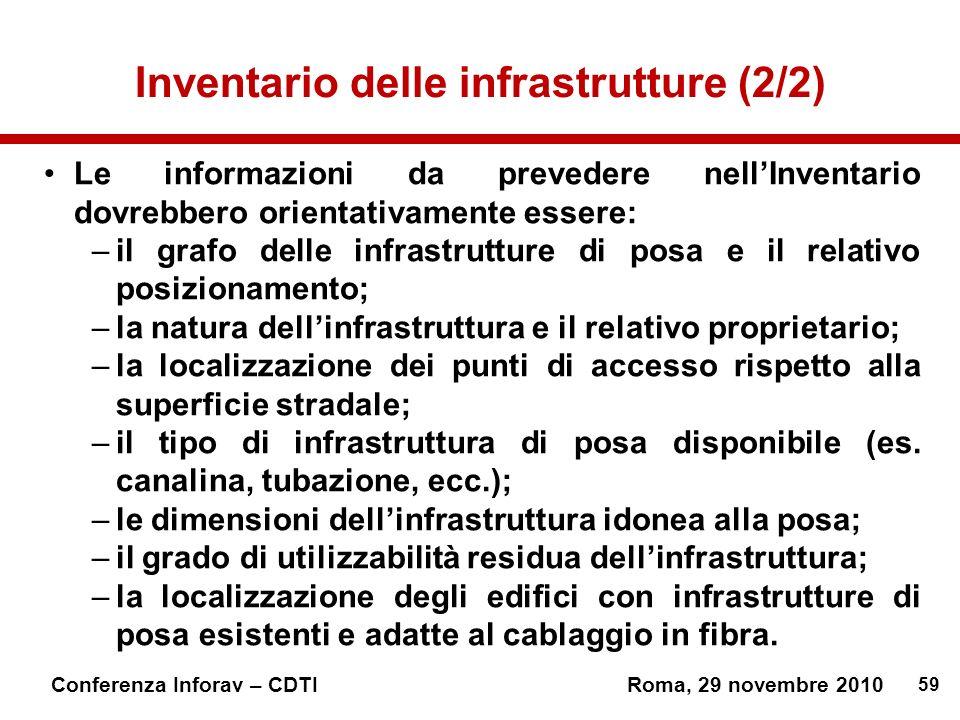 Inventario delle infrastrutture (2/2)