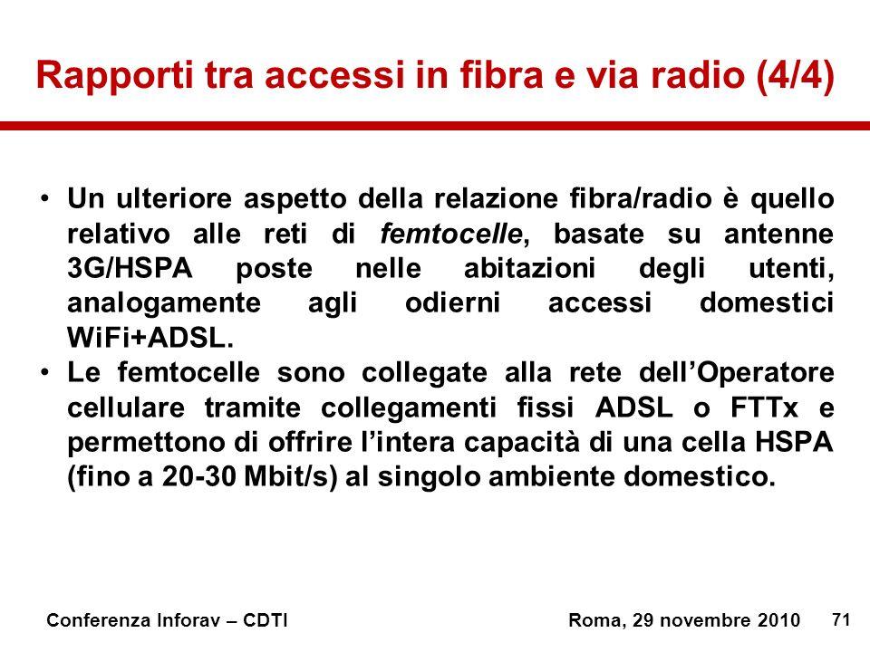 Rapporti tra accessi in fibra e via radio (4/4)