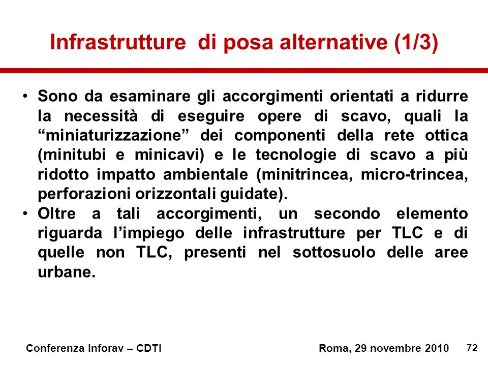 Infrastrutture di posa alternative (1/3)