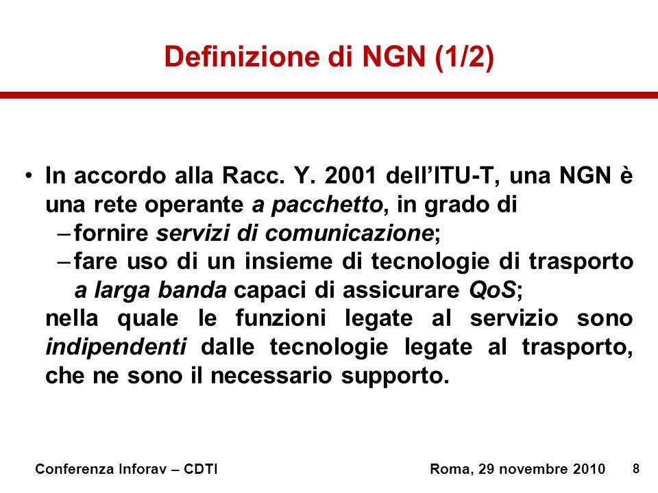 Definizione di NGN (1/2) In accordo alla Racc. Y. 2001 dell'ITU-T, una NGN è una rete operante a pacchetto, in grado di.