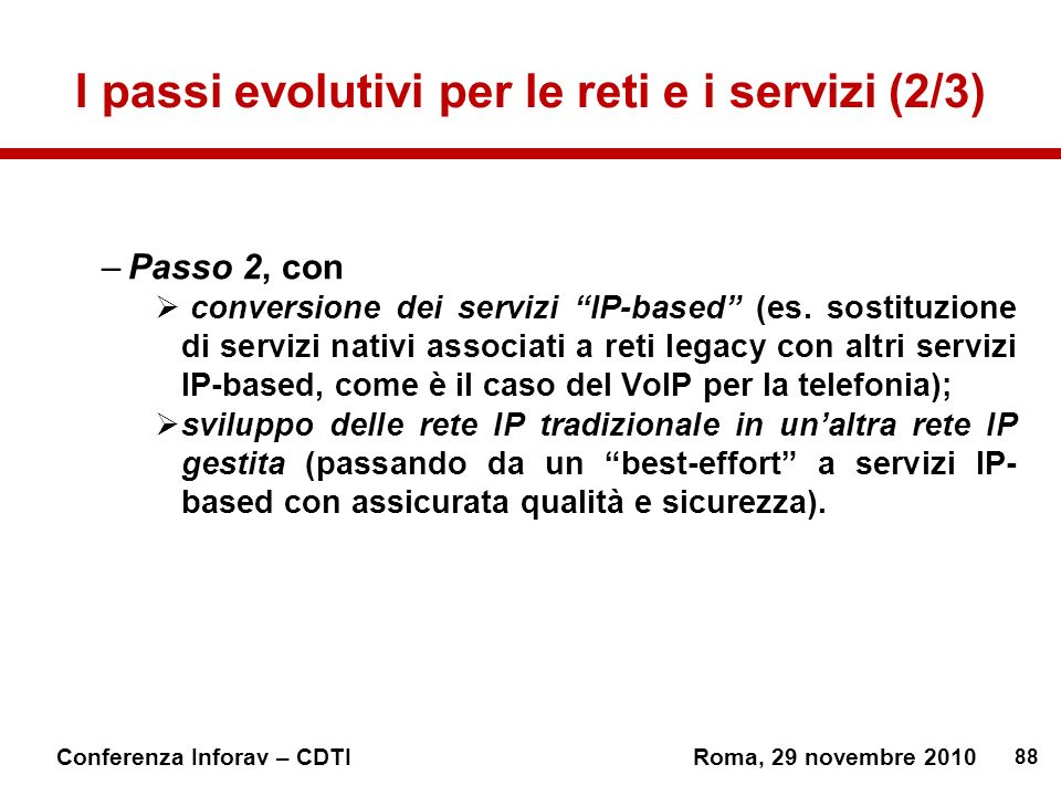 I passi evolutivi per le reti e i servizi (2/3)