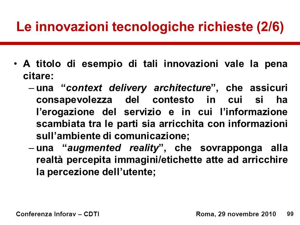 Le innovazioni tecnologiche richieste (2/6)