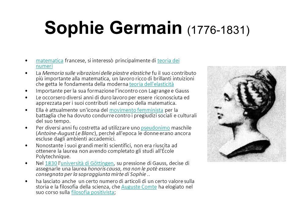 Sophie Germain (1776-1831) matematica francese, si interessò principalmente di teoria dei numeri.