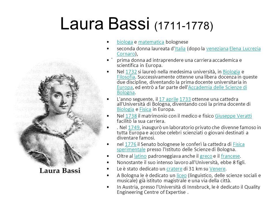 Laura Bassi (1711-1778) biologa e matematica bolognese