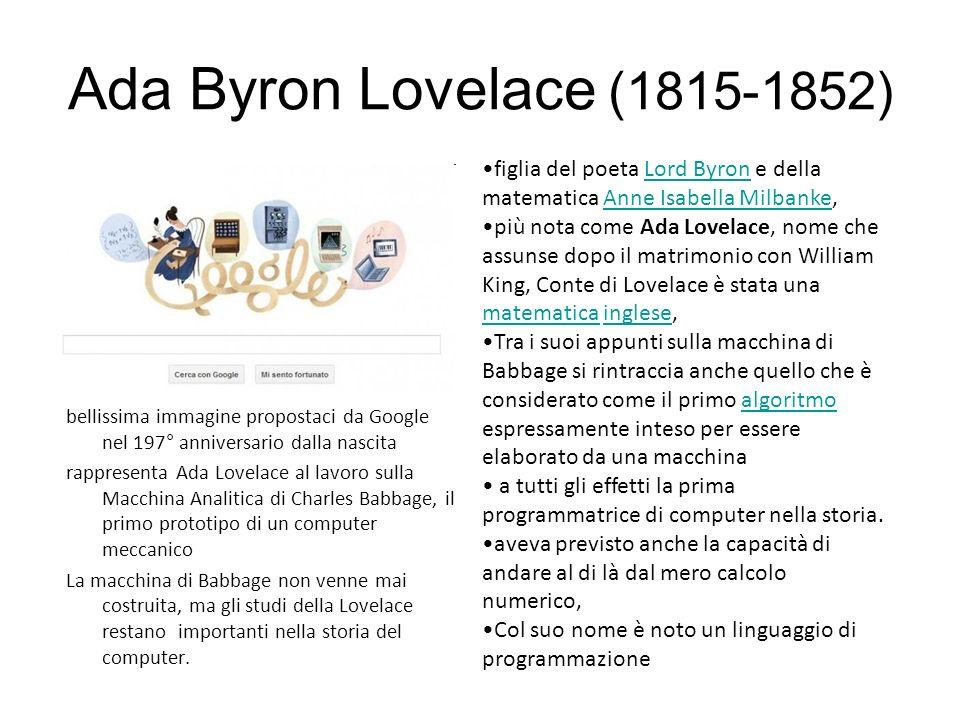 Ada Byron Lovelace (1815-1852) figlia del poeta Lord Byron e della matematica Anne Isabella Milbanke,