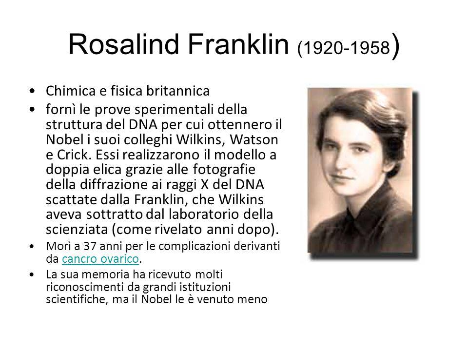 Rosalind Franklin (1920-1958) Chimica e fisica britannica