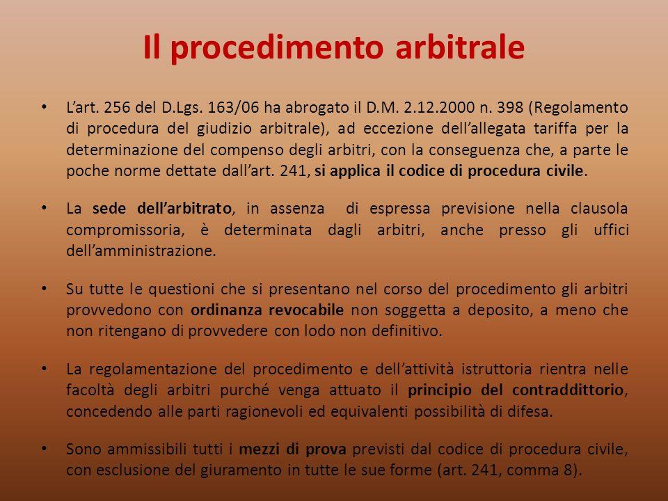 Il procedimento arbitrale