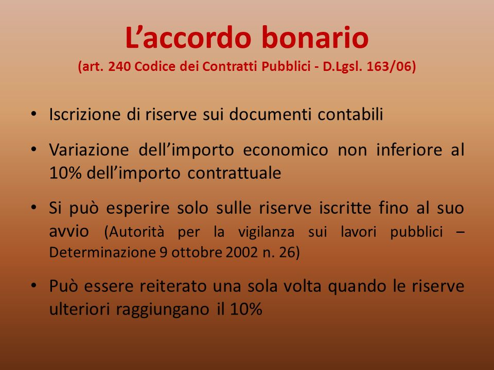 L'accordo bonario (art. 240 Codice dei Contratti Pubblici - D. Lgsl
