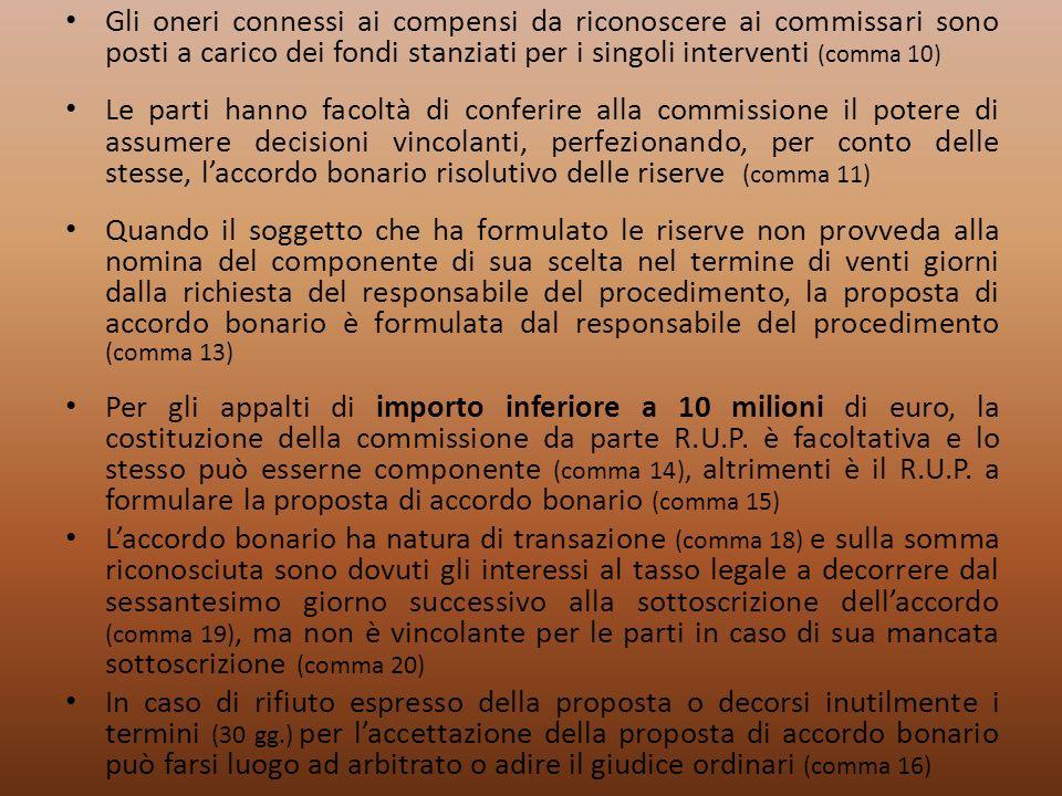 Gli oneri connessi ai compensi da riconoscere ai commissari sono posti a carico dei fondi stanziati per i singoli interventi (comma 10)