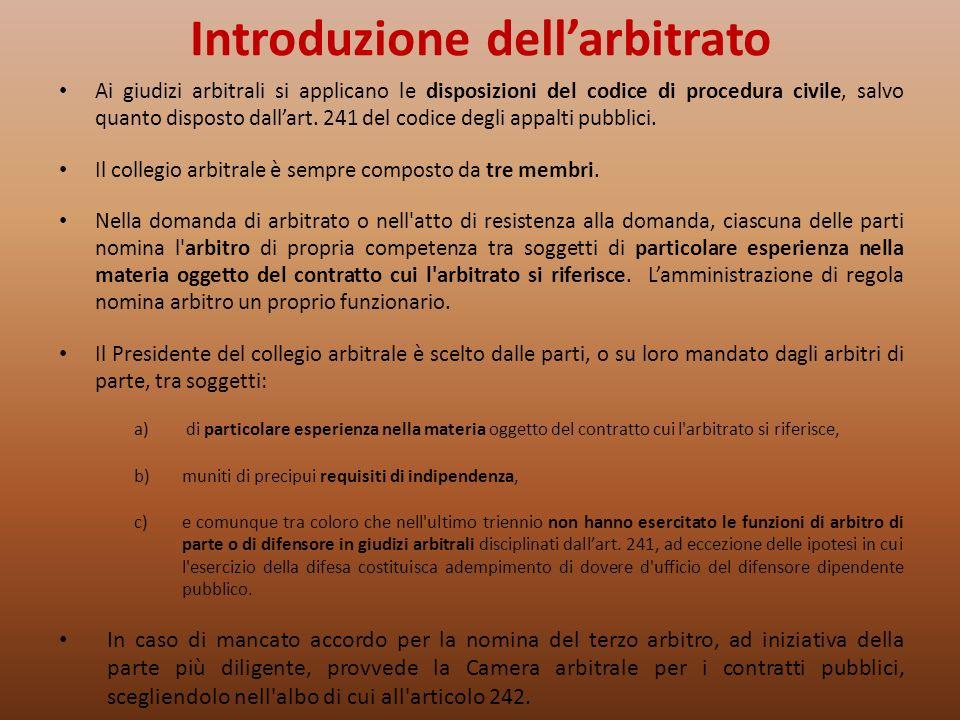 Introduzione dell'arbitrato