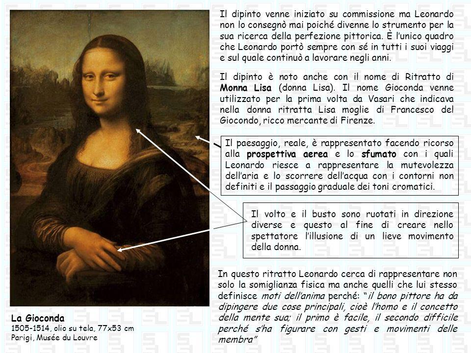 Il dipinto venne iniziato su commissione ma Leonardo non lo consegnò mai poiché divenne lo strumento per la sua ricerca della perfezione pittorica. È l'unico quadro che Leonardo portò sempre con sé in tutti i suoi viaggi e sul quale continuò a lavorare negli anni.